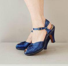 1930s shoes / platform 30s shoes / Sapphire Silk by DearGolden, $124.00