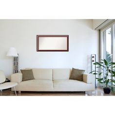 Wall Mirror Choose Your Custom Size - Extra Large, Cambridge Mahogany (Brown) Wood (Outer Size: 46 x 34-inch) (Glass)