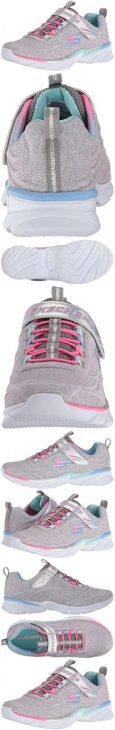 Skechers Kids Girls' Swirly Shimmer Time Running Shoe, Light Gray/Multi, 1 M US Little Kid