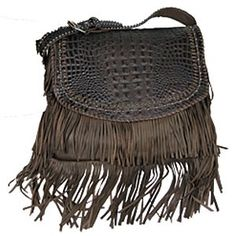 Faux Hornback Alligator Bag with Fringe - HANDBAGS - ACCESSORIES - LADIES | Pinto Ranch