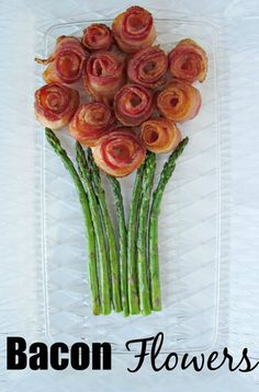 Bacon Flowers. Who knew bacon could look so pretty?! Perfect for bunch and a bacon lovers birthday.