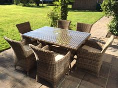 RATTAN GARDEN TABLE SIX SEATER Rattan Garden Furniture, Outdoor Furniture Sets, Outdoor Decor, Garden Table, Home Decor, Decoration Home, Rattan Garden Furniture Sets, Room Decor, Interior Decorating