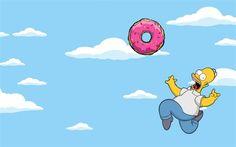 Homer Simpson, sky, donut, The Simpsons
