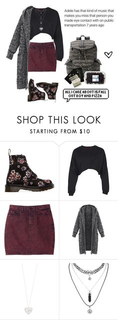 """""""Fall Out Boy & Pizza"""" by unicornawesomenesss ❤ liked on Polyvore featuring Dr. Martens, Boohoo, Monki, Accessorize, Candie's, CASSETTE, Jack Spade, women's clothing, women and female"""