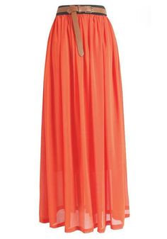 THE Color of the season...#coral   Chiffon Maxi Skirt  #simplyclassic A long flowy skirt is perfect for summer. Color block with mint or cobalt! #okgirrrl