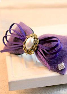 手工蝴蝶结/发饰发夹边夹顶夹发绳/多宝阁/冬季毛绒款之紫魅