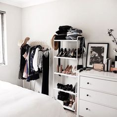 If you're short on closet space, buy a cheap bookcase (like this one from IKEA) for backup.