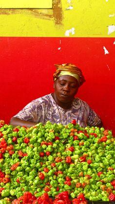 pepper seller, Treicheville market, Cote d'Ivoire