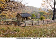 Autumn Mountains With Log Cabin. Wooden Outhouse And Split Rail ...