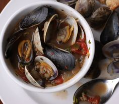 Clams and mussels with Italian sausage and white wine !