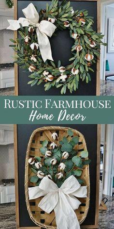 Cotton Wreath | Cotton and Eucalyptus in Tobacco Basket | Rustic Farmhouse Home Decor | Home Decor Ideas | Shabby Chic #affiliate