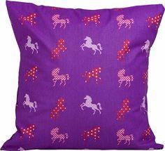 """Kissen-Set bestehend aus Kissen  50cm x 50 cm und  Kirschkernkissen  20cm x 20 cm  Pferde """"violett""""  Schön als Geschenk zur Geburt!  Stoffart: 100 % Baumwolle"""