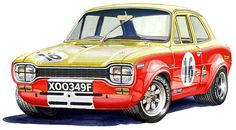 From an original water colour painting by me, David S Irving New Zealand Automotive Artist this print depics the Ford Mk1 Escort Alan Mann race car. The print is an A3 297mm X 420mm on 300gsm acid free paper from sustainable forests. It is signed by me. The print is shipped flat