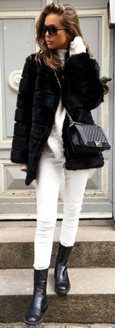 Black fur coat from Meotine, shirt from Minimum,, Trousers from Asos, bag from Chanel and Gucci Boots || Mary Crow Mann | #black