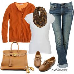 Casual Fall, love the cardigan, scarf and jeans. =)
