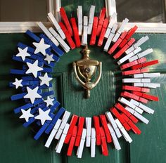 July 4th - Patriotic Wreath - 4th of July Wreath, Fourth of July Wreath - American Flag Wreath - Veterans Day Wreath - Americana - Stars and Stripes This charming american flag themed clothespin wreath is an awesome combination of red, white, and blue. The stars and stripes will