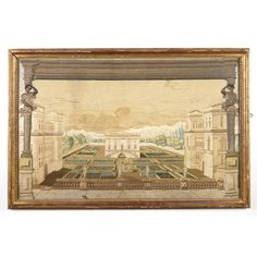 Lot 290  Continental Silk Embroidered Picture  Probably Italian, 17th century  Depicting a villa in a garden with a central fountain surrounded by hedged flowerbeds and flanked by Palladian buildings, the foreground with a balustrade mounted with four statues, the whole with blackamoor term figures supporting a cornice and continuing to bases. Sight height 17 1/4 inches (43.8 cm), width 27 1/2 inches (69.9 cm).    C Estate of Susan Smith  Estimate $800-1,200