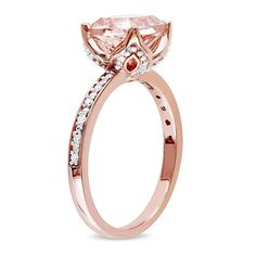 Delmar Jewelers 2.06ctw Pink Morganite and White Diamond 10K Rose Gold Cocktail Ring