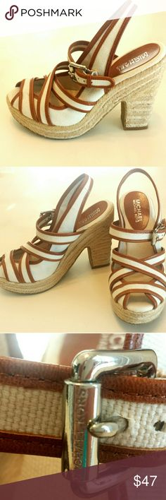 Michael Kors Canvas Leather Raffia Heels 6 1/2 M Beautiful heels. Great condition. Exterior and insoles look pratically new. Bottoms of shoes show they have been worn before. 6 1 / 2 M MICHAEL Michael Kors Shoes Heels