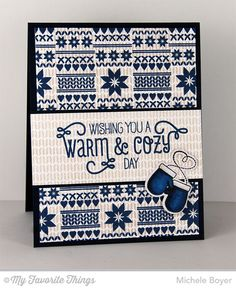 Cozy Greetings, Nordic Knits, Sweater Stitch Background, Cool Day stamp set and Die-namics - Michele Boyer #mftstamps