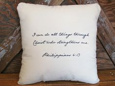 If you have a favorite bible verse or quote then why not put it on a pillow? The perfect sentimental gift/keepsake for a loved one or treat for yourself!   Pillow is stuffed with a removable, high-quality insert/form.  All I need is the bible verse/quote you would like to be placed on the pil...