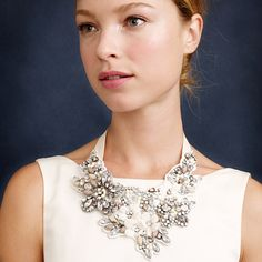 J.Crew - Crystal and flower bib necklace