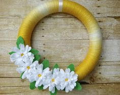 Items similar to Summer Wreath - Spring Wreath - Yellow Yarn Wrapped Wreath with Yellow and White Flowers and Olive Leaves - on Etsy