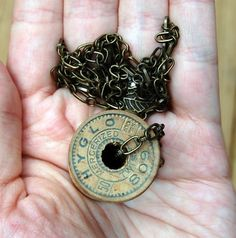 necklace from top of vintage wooden thread spool...charming