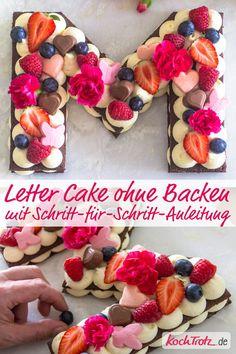 Genial! Letter Cake ohne Backen und glutenfrei! Mit Schritt-für-Schritt-Anleitung und Schnittmuster zum Download. #lettercake #glutenfrei #muttertag #laktosefrei #veganoptions