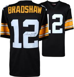 5cf55fe93 Terry Bradshaw Pittsburgh Steelers Fanatics Authentic Autographed Mitchell    Ness Throwback Black Replica Jersey with