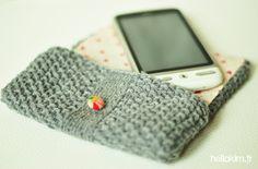 Pochette extérieur tricot / intérieur tissus