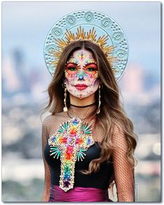 Halloween Makeup Looks, Halloween Make Up, Halloween 2020, Halloween Costumes, Halloween Party, Vintage Halloween, Day Of Dead Makeup, Catrina Costume, Sugar Skull Makeup