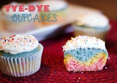 Satisfy Your Sweet Tooth with These Guilt Free Tie Dye Cupcakes! - Mommy of Two Little Monkeys Desserts For A Crowd, Easy Desserts, Delicious Desserts, Dessert Recipes, Cupcake Recipes, Tie Dye Cupcakes, Hungry Girl Recipes, Cupcake Mix, Yellow Food Coloring