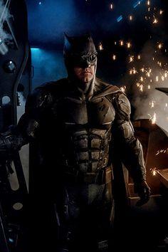 "Ben Affleck as Batman on the set of Zack Snyder's ""Justice League"" (2017)."