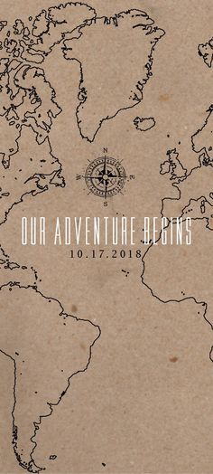 The Adventure Begins Map Wedding Invitation