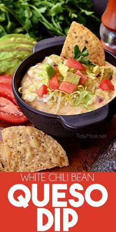 You've been warned. This White Chili Bean Queso Dip will go fast. White chili beans are the secret ingredient to this quick and easy queso dip recipe. Just 3 ingredients and 5 minutes to make, and is ridiculously delicious! PRINTABLE RECIPE at TidyMom.net