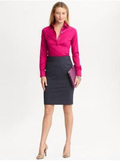 Love the bright magenta against the cool grey! Perfect for the office! (styles we love - bananarepublic.com)