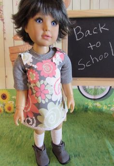 Cute Floral Cotton Jumper, Gray Ribbed Tee for Kidz N Cats Dolls  #Unbranded