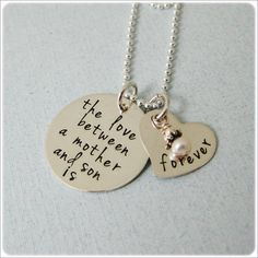 Hand Stamped Necklace, Love Between a Mother and Son, Mothers Jewelry. $64.00, via Etsy.