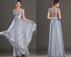 New Adorable Cap Sleeves Lace Evening Dress Party Dress   (02130632) on Etsy, $240.00