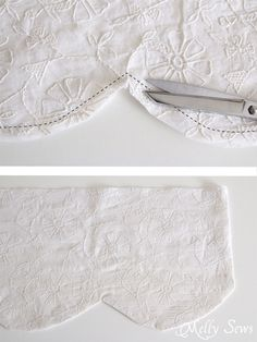 Sewing Curtain Step 2 - How to sew valances - tutorial for a scalloped valance - Melly Sews - Learn how to sew valances with scallops - a tutorial for curtains and valances