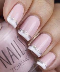 nail polish pale pink silver glitter french manicure