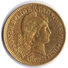 Moneda de oro 5 Pesos Argentina 1881.