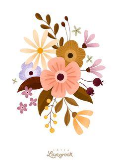 Illustration Blume, Botanical Illustration, Nature Illustration, Arte Floral, Motif Floral, Folk Art Flowers, Flower Art, Posca Art, Floral Drawing
