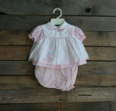 Vintage Pink & White Children's Teddy Bear Dress with by vintapod