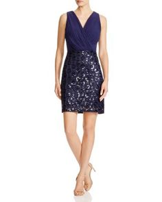 Laundry by Shelli Segal Blouson Sequin Skirt Dress | Bloomingdale's