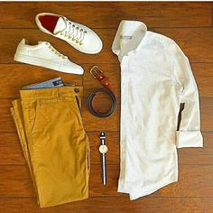 Outfit grid - Mustard shorts & white shirt