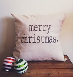 Merry Christmas 16 x 16 Pillow Cover by ParrisChicBoutique on Etsy, $18.00