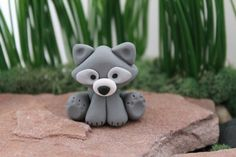 Woodland Raccoon - Polymer Clay - Terrarium Accessory - Fairy Garden - Miniature Garden - Accent - Made to Order