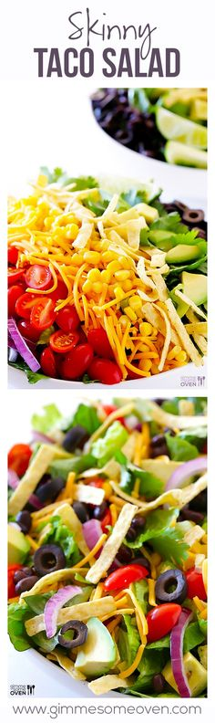 This Skinny Taco Salad recipe is full of great flavor and color, but is made lighter too! https://gimmesomeoven.com #skinny #recipe